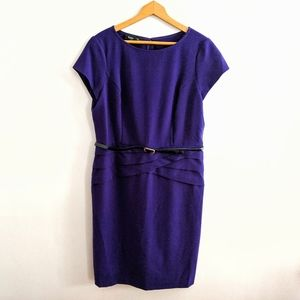 Plus Size Structured Belted Purple Career Dress 16